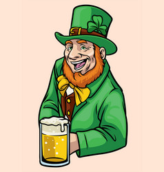 old leprechaun hold a glass of beer vector image