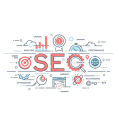 seo search engine otimization thin line concept vector image