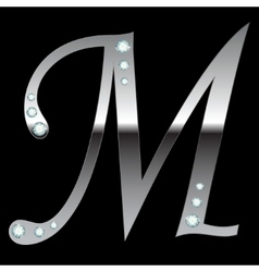 silver metallic letter M vector image vector image