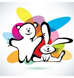 teddy bear and bunny icons cartoon style vector image vector image