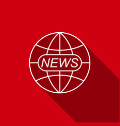 world and global news concept with long shadow vector image