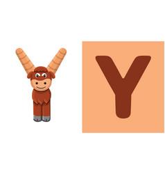 y is for yak letter y yak cute vector image