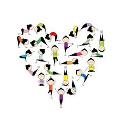I love yoga Heart shape vector image vector image