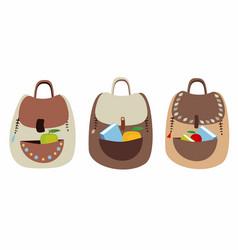 set of cute fun backpacks vector image vector image