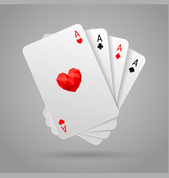 set of four aces playing cards suits poker hand vector image