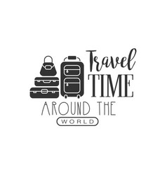 travel label with suitcases silhouette and text vector image