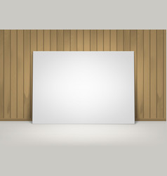 white picture with brown wooden wall front view vector image vector image