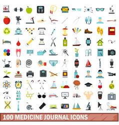 100 medicine journal icons set flat style vector