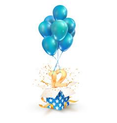 12th years celebrations greetings twelve vector