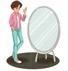 A sparkling mirror beside fashionable young man vector