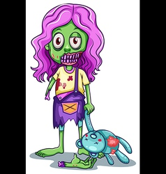 A young female zombie vector image