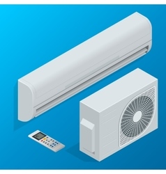 Air conditioner system set isolated on background vector