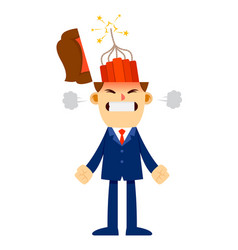 Angry businessman with explosives inside his head vector