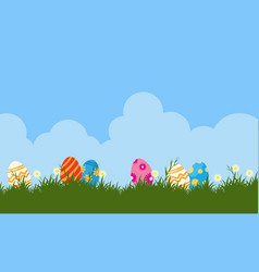 Art of easter egg on hill backgrounds vector