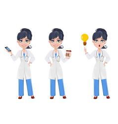 Beautiful cartoon character medic set vector