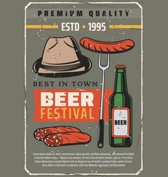 Beer festival and sausages retro poster vector