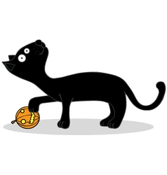 Black cat cartoon vector