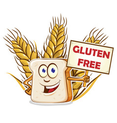 bread cartoon with gluten free signboard vector image