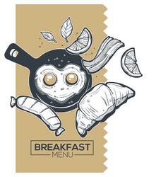 breakfast menu sketch for yuor vector image
