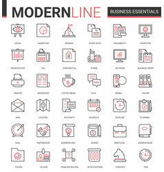 business thin red black line icon vector image