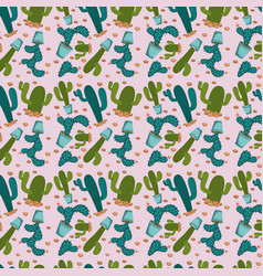 Cactus plant pattern in pink background vector