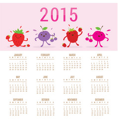 Calendar 2015 fruit cute cartoon mixed berry vector