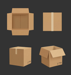 cardboard box paper box different point views vector image