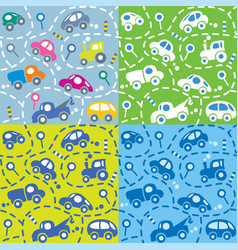 Cars on the road seamless kids pattern set vector