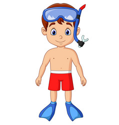 Cartoon little boy with snorkeling gear vector