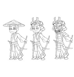 cartoon ninja samurai with sword character set vector image