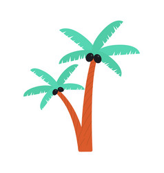 Cartoon palm tree drawing with black coconuts vector