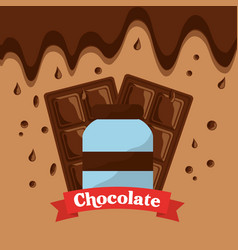 chocolate bottle bar and melted drops vector image