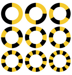 circle yellow and black sectors safety vector image