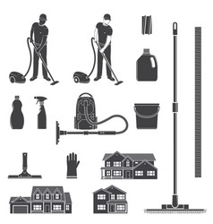 Cleaning icon silhouette for emblems and labels vector