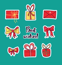 collection of christmas stickers in cartoon vector image