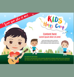Colorful kids summer camp poster or banner vector