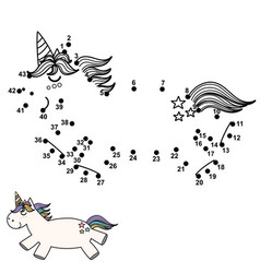 connect the dots and draw a cute unicorn vector image