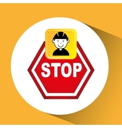 construction worker sign stop graphic vector image