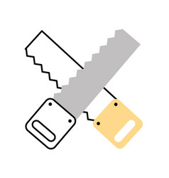Cross woodworking saw isolated icon vector