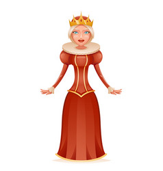 cute queen cheerful ruler crown on head cartoon vector image