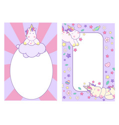 cute unicorn decorated sleeping sweetly and pink vector image