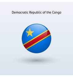 Democratic republic congo round flag vector