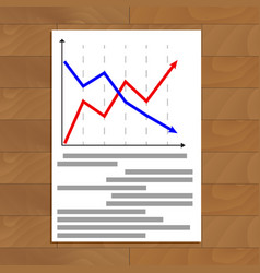 document with arrow chart vector image