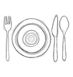 doodle sketch dining set - fork knife spoon vector image