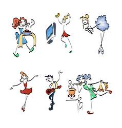 Doodle stickman collection concept vector