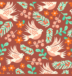 dove and christmas florals seamless pattern vector image