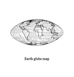 Earth globe map drawn sketch in vector