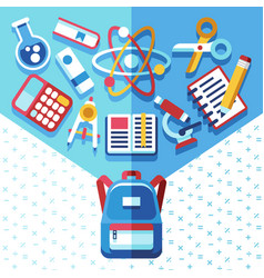education concept with backpack and supplies back vector image