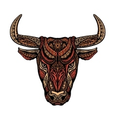Ethnic ornamented bull or minotaur taurus vector