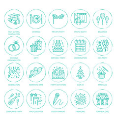Event agency wedding organization line vector
